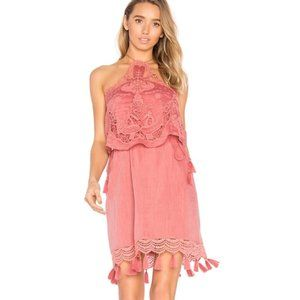 Saylor Carolyn Embroidered Halter Dress